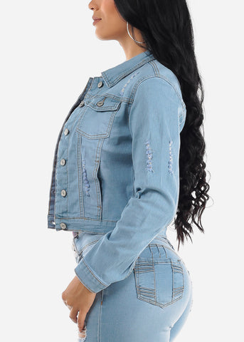 Image of Ripped Light Wash Denim Jacket