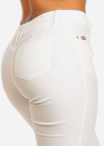Butt Lifting High Rise White Capris