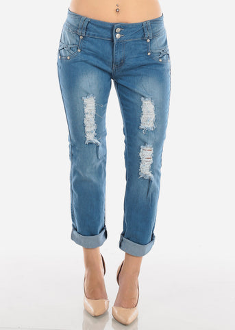Image of Light Wash Ripped Boyfriend Jeans