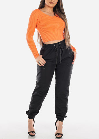 Image of Black Jogger Pants Track Style