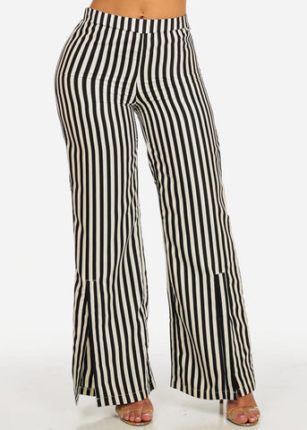 Cream Stripe High Waisted Pants