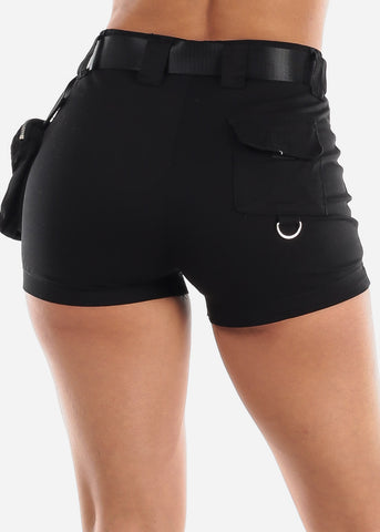 High Waisted Black Cargo Shorts