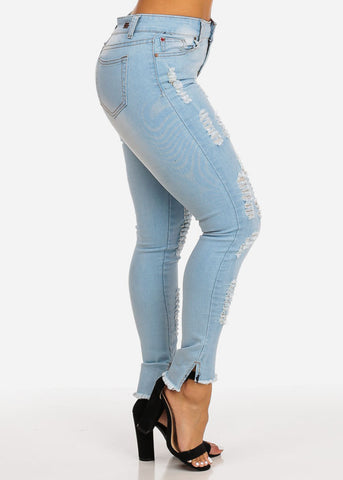 Image of High Rise Distressed Ankle Skinny Jeans