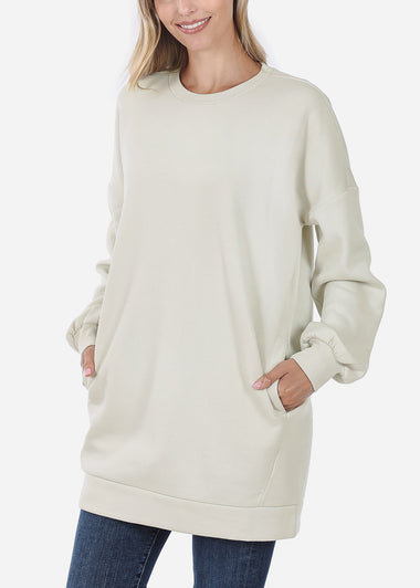 Oversized Round Neck Bone Sweatshirt