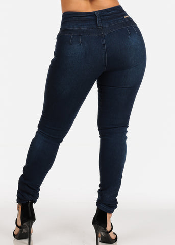 Sexy Dark Wash Butt Lifting 3 Button Closure Colombian Design Push Up Jeans