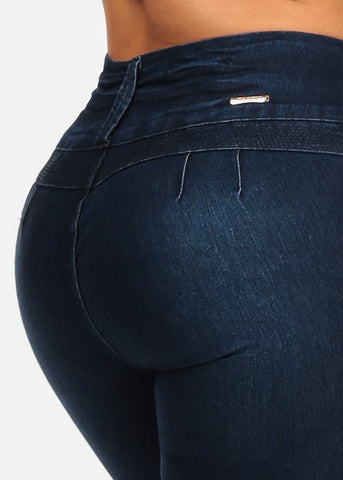 Image of Sexy Dark Wash Butt Lifting 3 Button Closure Colombian Design Push Up Jeans