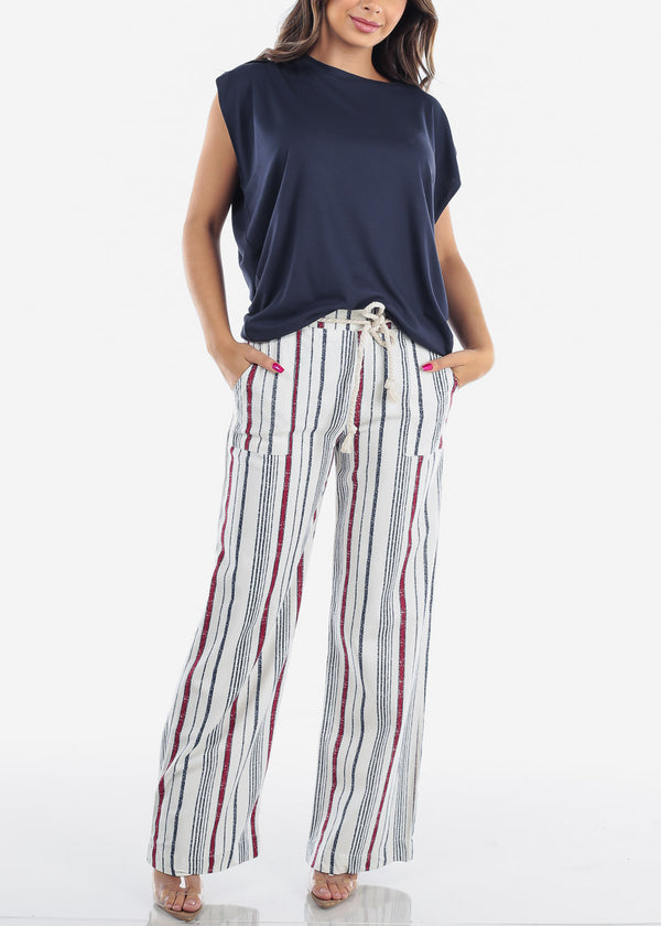 Red Stripe Linen Wide Pants