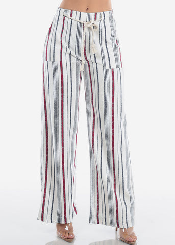Image of Linen Red And White Stripe High Waisted Wide Legged Pants For Women Ladies Junior Vacation Beach Trip