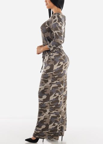 Image of Wide Leg Camouflage Jumpsuit