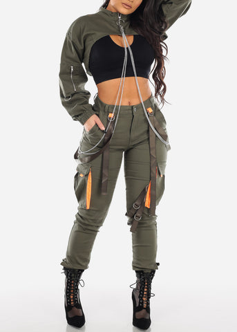 Strapped High Rise Olive Cargo Jogger Pants
