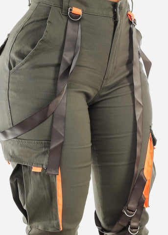 Image of Strapped High Rise Olive Cargo Jogger Pants
