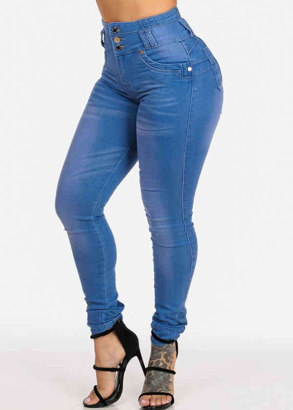 High Waisted Light Wash Butt Lifting Skinny Jeans