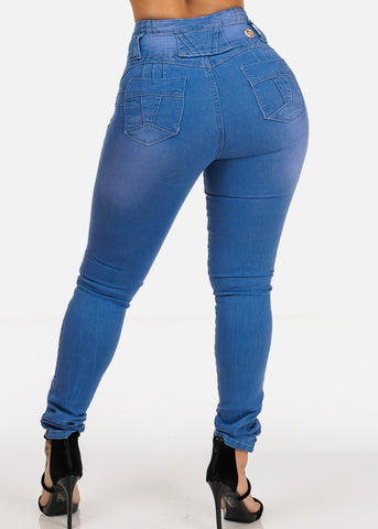 Image of High Waisted Levanta Cola Three Button Zip Up Light Wash Butt Lifting Skinny Jeans
