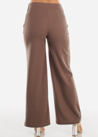 High Waisted Wide Leg Dress Mocha Pants