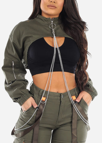 Cropped Underbust Olive Jacket W Chain
