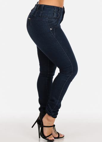 Image of Dark Wash Butt Lifting Mid Rise Colombian Design Push Up Skinny Jeans