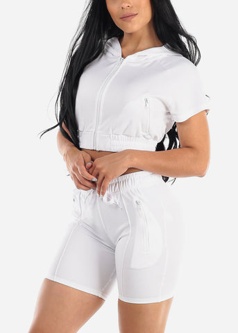 White Crop Hoodie & Bermuda Shorts (2 PCE SET)