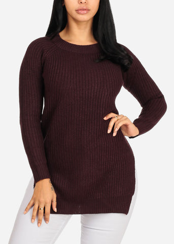 Image of Cozy Knitted Burgundy Sweater