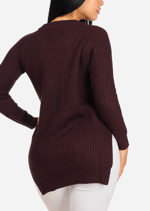 Cozy Knitted Burgundy Sweater