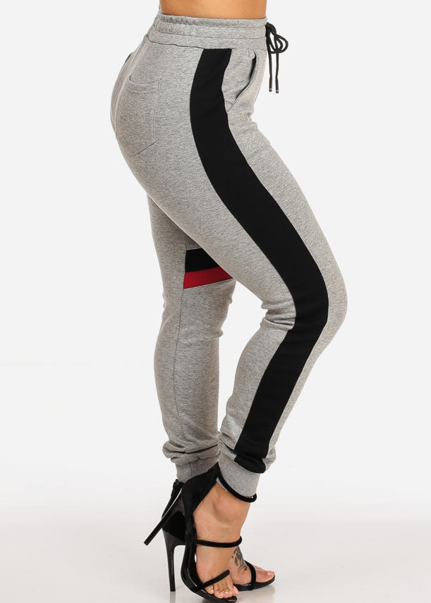 Grey High Rise Stripe Jogger Pants