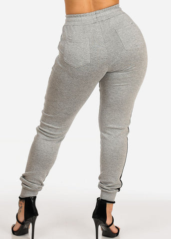 Image of Grey High Rise Stripe Jogger Pants