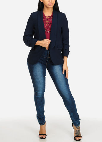 Image of Solid Navy Open Front Blazer