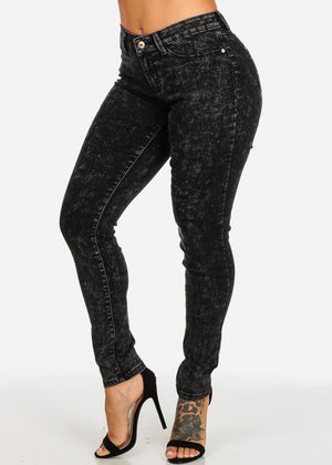 Mid Rise Black Acid Wash Skinny Denim