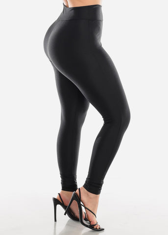 High Waisted Black Satin Leggings