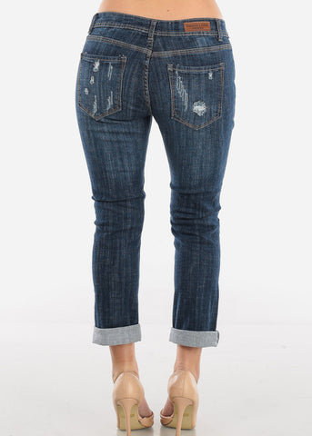 Image of Distressed Boyfriend Dark Wash Jeans