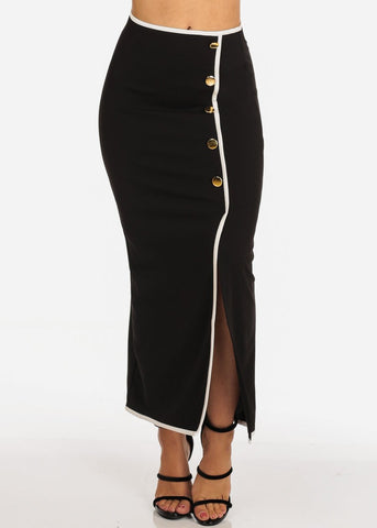 Women's Junior Ladies Stylish Dressy Gold Button Detail Black Maxi Skirt