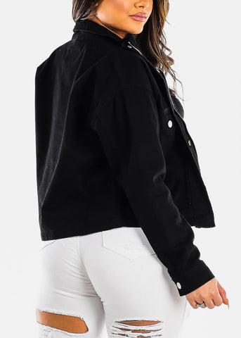 Image of Zip Up & Snap Closure Black Jacket