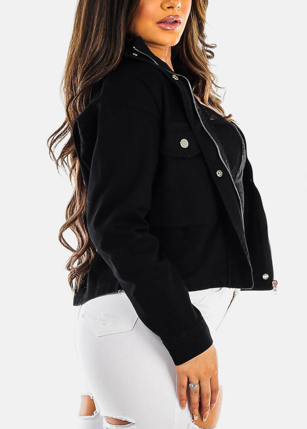 Zip Up & Snap Closure Black Jacket