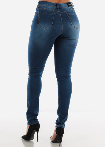 Image of Mid Rise Dark Wash Torn Skinny Jeans
