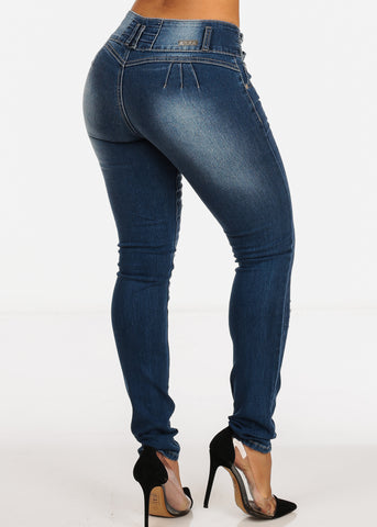 Image of Med Wash Butt Lifting Distressed Mid Rise Ripped Skinny Jeans