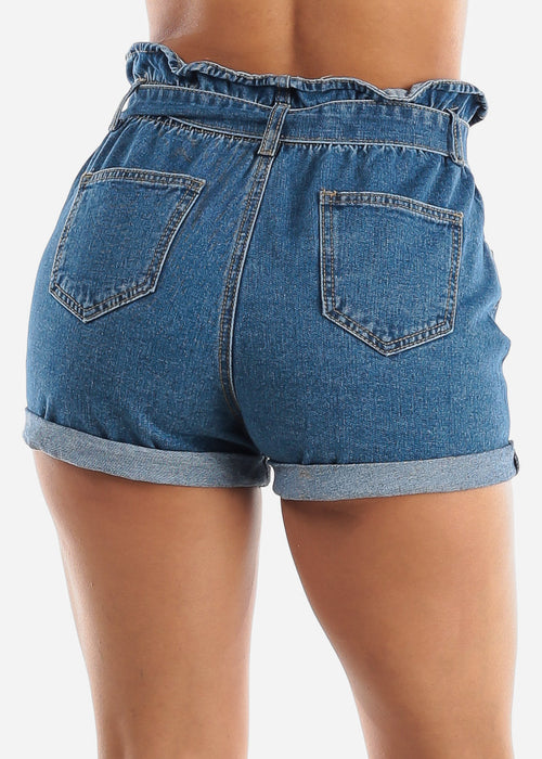 Paperbag Distressed Denim Shorts