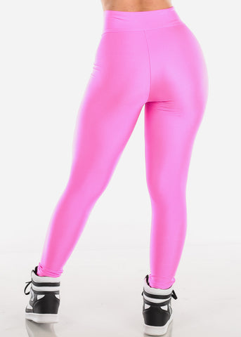 High Waisted Pink Satin Leggings