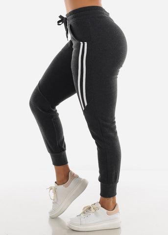 Image of Stripe Sides Charcoal Jogger Sweatpants