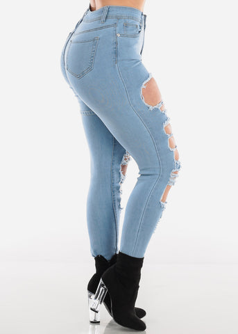 Buckle Strap Torn Light Wash Skinny Jeans