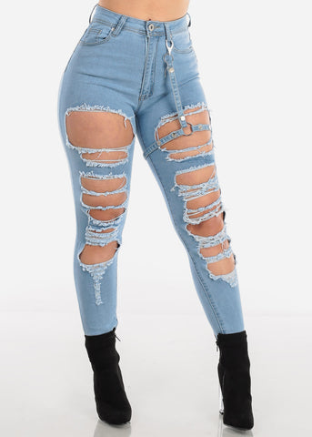 Image of Buckle Strap Torn Light Wash Skinny Jeans