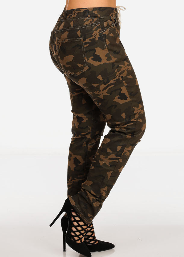 Plus Size High Rise Camouflage Ripped Jeans
