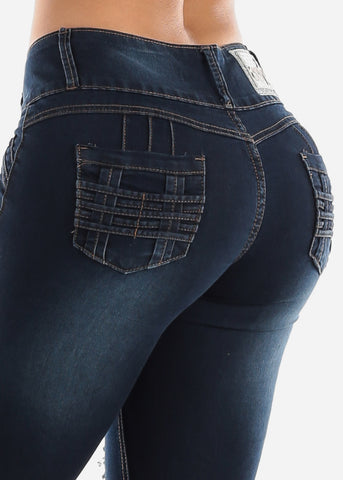 Image of Butt Lifting Torn Dark Wash Skinny Jeans