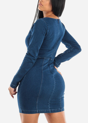 Image of Long Sleeve Denim Dress