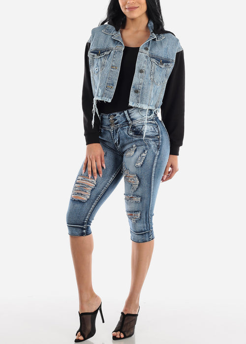High Rise Acid Wash Torn Denim Capris