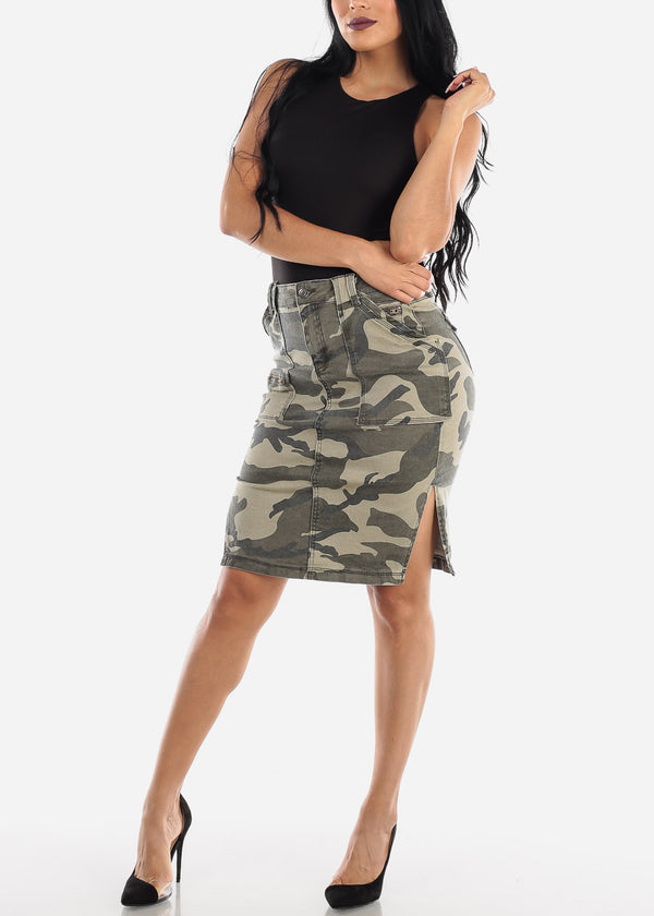 High Waisted Camouflage Pencil Skirt