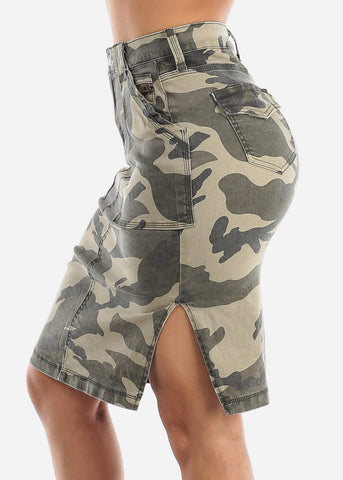 Image of High Waisted Camouflage Pencil Skirt