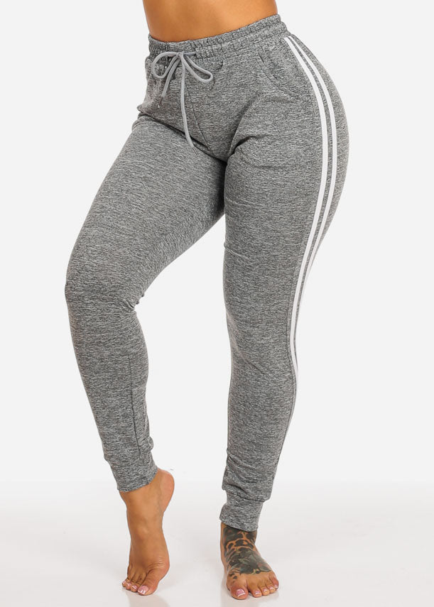 Grey Ultra High Rise Striped Sides Jogger Pants