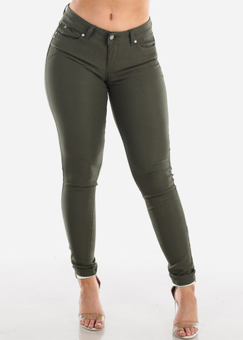 Image of Butt Lifting Olive Jegging Skinny Pants