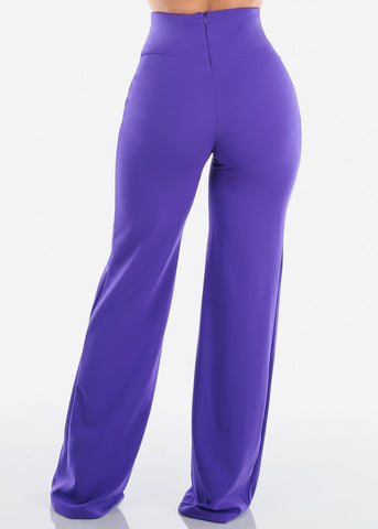 Elegant High Rise Purple Pants