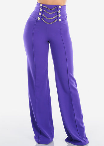 Image of Women's Junior Ladies Sexy Stylish Elegant High Waisted Wide Legged Palazzo Dark Purple Dressy Pants W Attached Gold Chains And Gold Buttons