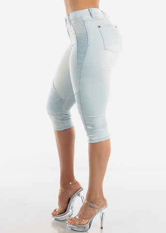 Light Wash Moto Denim Capris